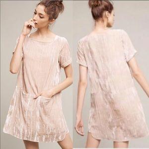{Anthro} Floreat Crinkled Velvet Tunic Dress